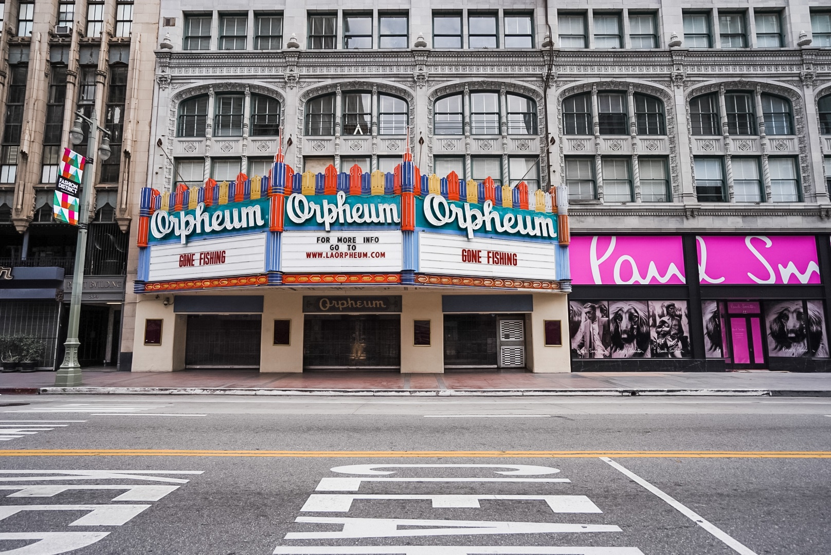 Orpheum theatre marquee reads Gone Fishing.