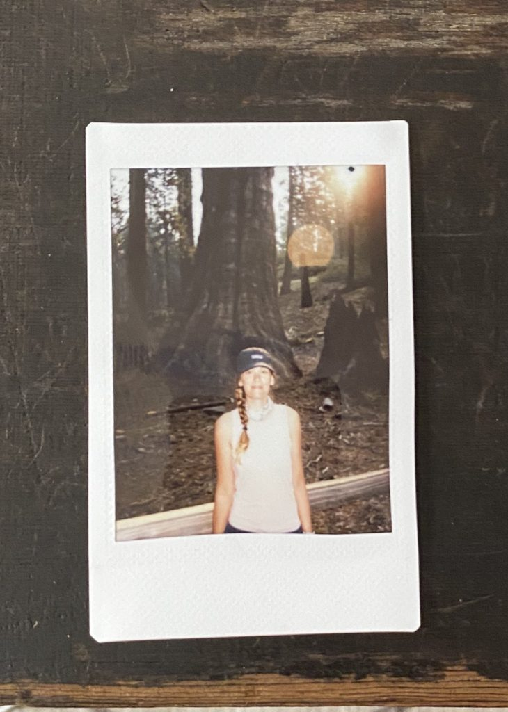 polaroid photo of woman standing in front of sequoia tree