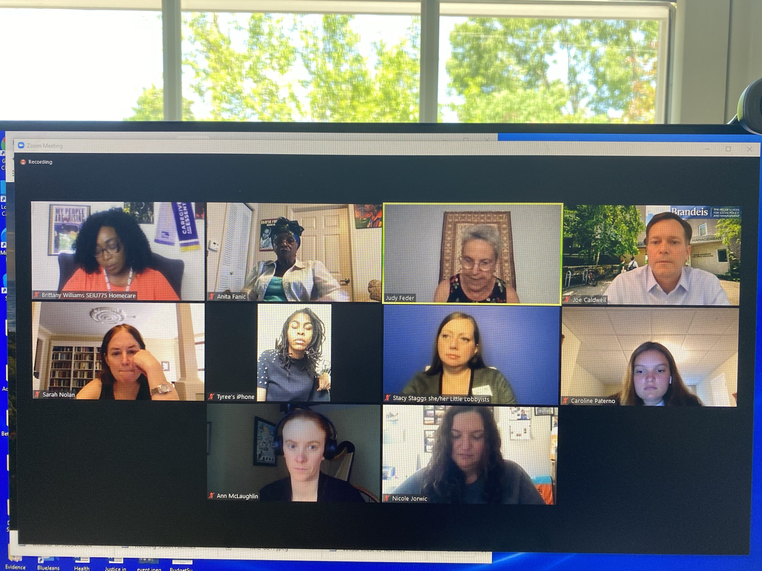 screen shot of a group of people testifying at a legislative briefing via zoom. There are 11 boxes with people in them