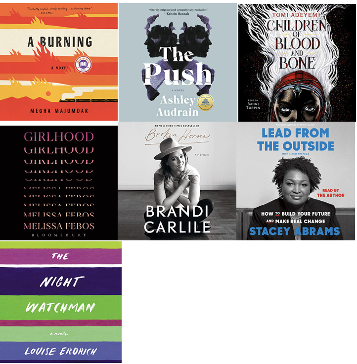 a collage of seven books: A Burning; The Push; Children of Blood and Bone; Girlhood; Broken Horses: Lead from the Outside; The Night Watchman